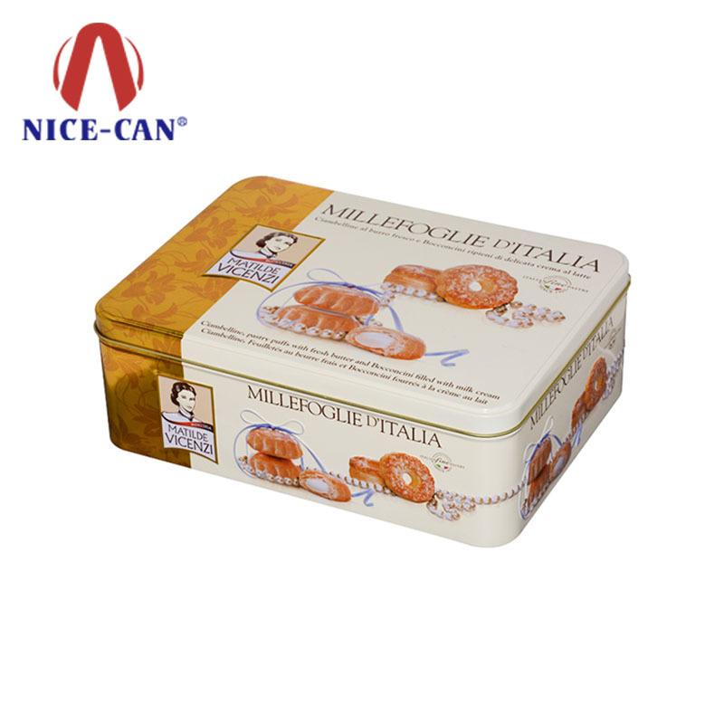 Metal tin storage rectangular biscuit tin box food packaging tin can