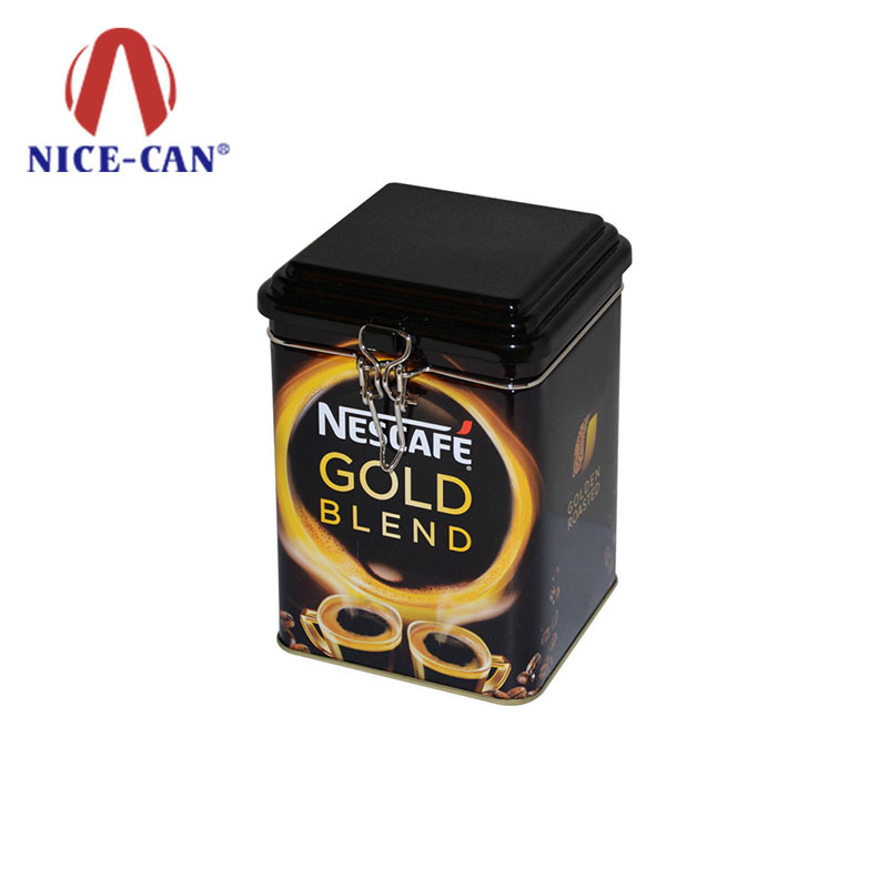 Seamless metal coffee storage tin box with metal ring