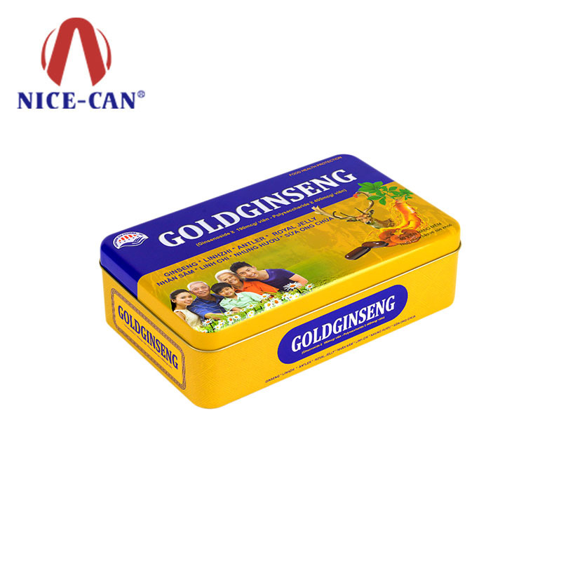 Rectangle food grade tin box American ginseng capsule custom gift tin boxes