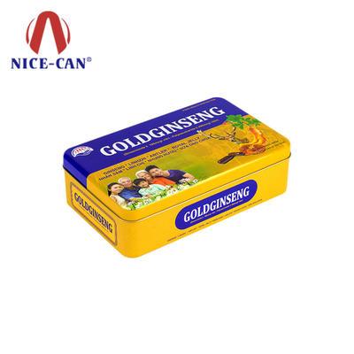 Rectangle food grade tin box American ginseng capsule custom gift tin boxes
