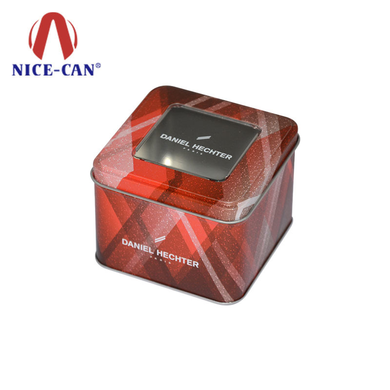 Customize printing empty metal food tin boxes with pvc window