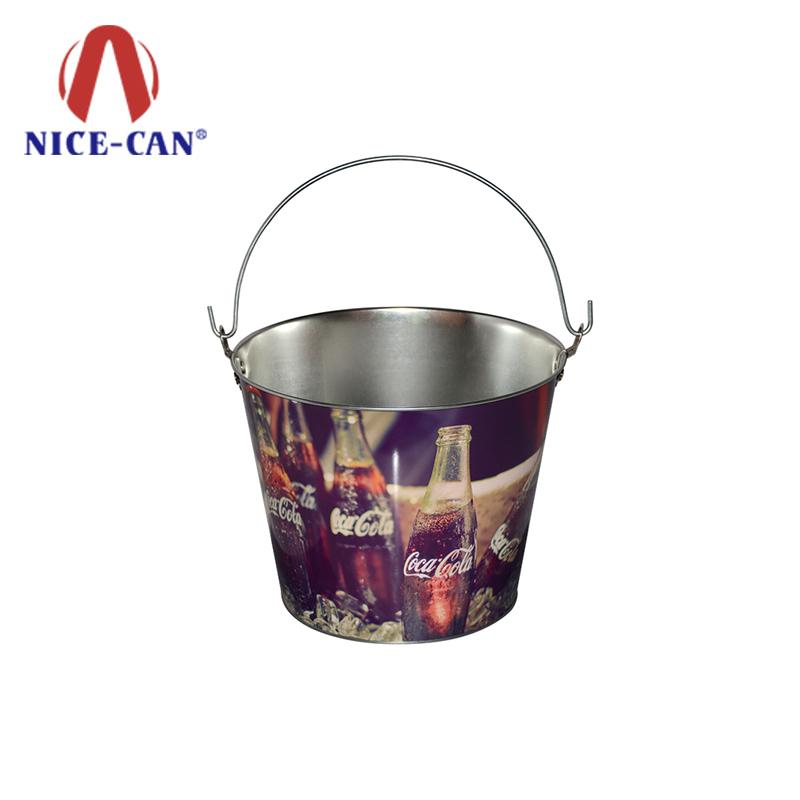 Custom round metal promotional tin ice bucket cooler beer buckets