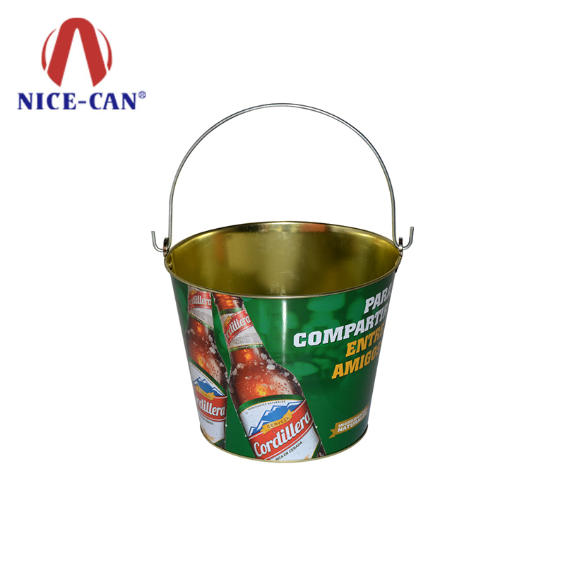 5L galvanized metal promotional tin bucket large metal ice bucket with hand-held