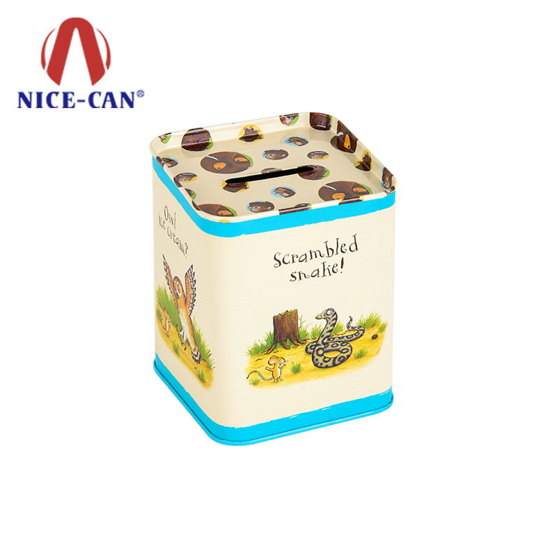 Custom coin tin box piggy bank square tin money box for kids