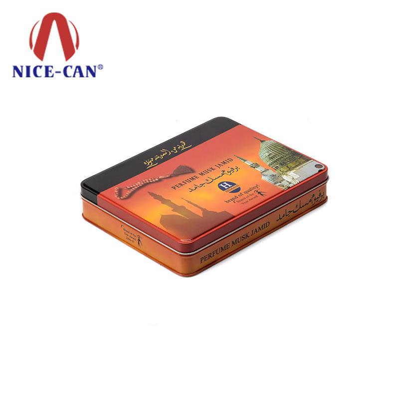 Small metal rectangular cigarette tin case cigar tin box