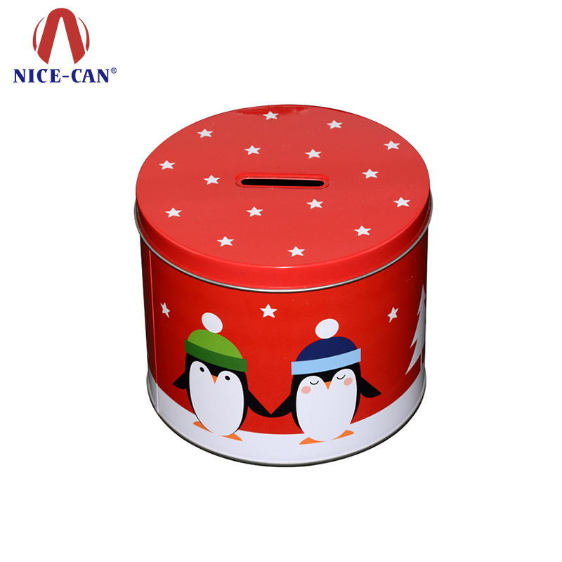 Special Plane Round Tin Coin Bank Tin Box